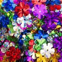 Sequins, Mixed colour, Diameter 15mm, 110 pieces, 10g, Flower shape, Sequins are shiny, [CZP582]